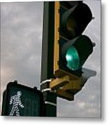Green Light Walk Metal Print