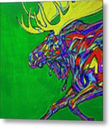 Green Mega Moose Metal Print