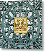Green Metal Pattern With Golden Element Metal Print