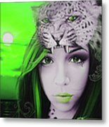 Green Moon Metal Print