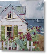 Green Nantucket Shutters Metal Print by Joyce Hicks