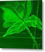 Green Negative Wood Flower Metal Print