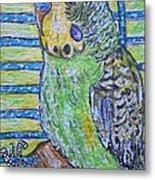 Green Parakeet Metal Print