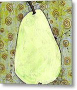 Green Pear Art With Swirls Metal Print by Blenda Studio