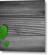 Green Pedal Shaped Hearts Metal Print