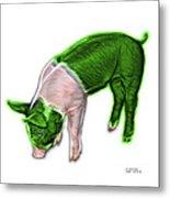 Green Piglet - 0878 Fs Metal Print