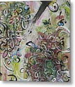Green Pink Brown Abstract Art Spring Color Blossom Flower Butterfly Painting Abstract Acrylic Ink Ar Metal Print