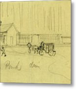 Green Pond Drive, Drawing, 1862-1865, By Alfred R Waud Metal Print