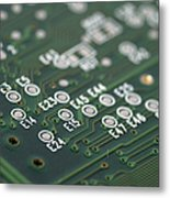 Green Printed Circuit Board Closeup Metal Print