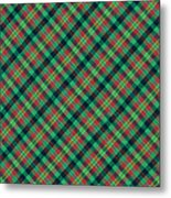 Green Red And Black Diagonal Plaid Textile Background Metal Print