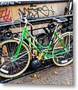 Green Schwinn Bike  Nyc Metal Print