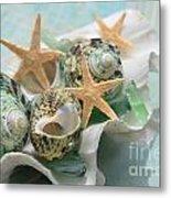 Green Shells And Sea Glass Metal Print