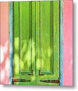 Green Shutters Pink Stucco Wall 2 Metal Print