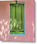 Green Shutters Pink Stucco Wall Metal Print