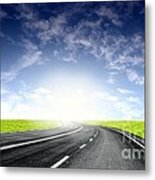 Green Sky Road Metal Print