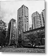 Green Space In Front Of High Rise Apartment Condo Blocks In The West End Between Robson And West Geo Metal Print