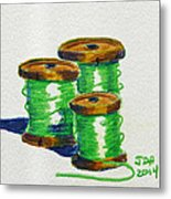 Green Spools Of Thread Metal Print