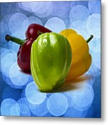Green Sweet Pepper - Square - Textured Metal Print