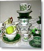 Green Teacups  Metal Print