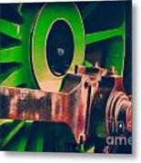 Green Train Wheel Metal Print