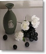 Green Vase Floral With Grapes Metal Print