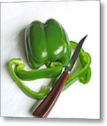 Green Veggie Munchie Metal Print