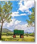 Green Wagon And Vineyard Metal Print