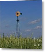 Green Wheat  Field With Green And Yellow Windmill Metal Print by Robert D  Brozek