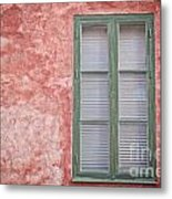 Green Window On Red Wall. Metal Print
