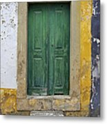 Green Wood Door With Hand Carved Stone Against A Texured Wall In The Medieval Village Of Obidos Metal Print by David Letts