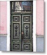 Green Wooden Door In Old Building Metal Print