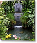 Greenhouse Garden Waterfall Metal Print