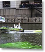 Greening The Chicago River For St Patrick's Day Metal Print