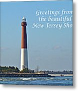 Greetings From The Beautiful New Jersey Shore - Barnegat Lighthouse Metal Print