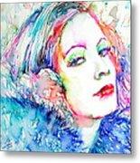 Greta Garbo - Colored Pens Portrait Metal Print