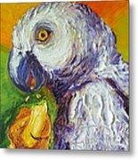 Grey Parrot And Juicy Mango Metal Print by Paris Wyatt Llanso