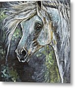 Grey Pony With Long Mane Oil Painting Metal Print