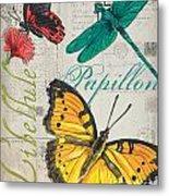 Grey Postcard Butterflies 3 Metal Print
