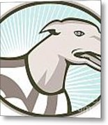 Greyhound Dog Head Retro Metal Print by Aloysius Patrimonio