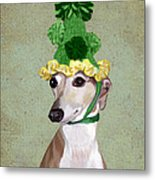 Greyhound Green Bobble Hat Metal Print
