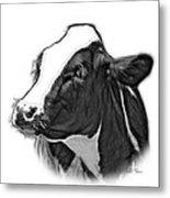 Greyscale Cow Holstein - 0034 Fs Metal Print