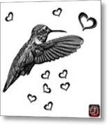 Greyscale Hummingbird - 2055 F S M Metal Print
