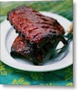 Grilled Ribs On A White Plate Metal Print