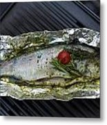 Grilled Trout On Barbecue Metal Print