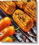Grilling Corn And Peppers Metal Print