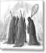 Grim Reapers Stand In A Circle Metal Print