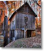 Grist Mill Under Fall Foliage Metal Print