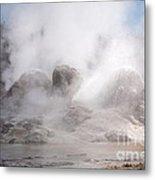 Grotto Geyser In Upper Geyser Basin In Yellowstone National Park Metal Print