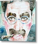 Groucho Marx Watercolor Portrait.1 Metal Print