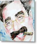 Groucho Marx Watercolor Portrait.2 Metal Print
